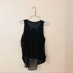 Black Crochet Style Tank Top